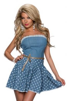 4593 Fashion4Young Damen tailliertes Bandeau Minikleid mit Gürtel Kleid dress verfügbar in 2 Farben (L = 40, Blue indigo) - 1