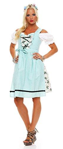 4732 Fashion4Young Dirndl 3 tlg.Trachtenkleid Kleid Mini Bluse Schürze Trachten Oktoberfest (34, Türkisblau-Weiß) -