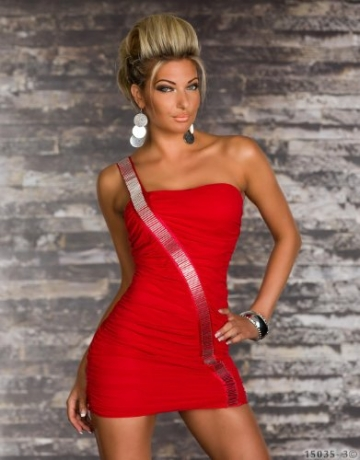 4768 One-Shoulder-Minikleid dress robes in verschiedenen Varianten (S/M=34/36, Rot 4768-3) - 2