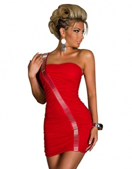 4768 One-Shoulder-Minikleid dress robes in verschiedenen Varianten (S/M=34/36, Rot 4768-3) - 1