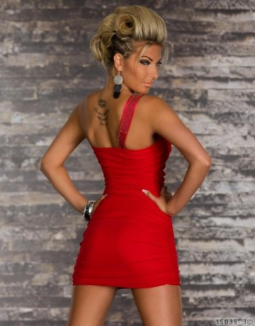 4768 One-Shoulder-Minikleid dress robes in verschiedenen Varianten (S/M=34/36, Rot 4768-3) - 4