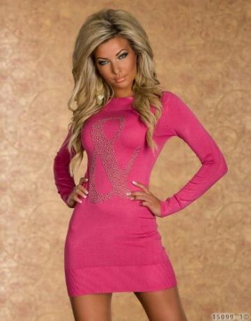 4790 Langarm-Minikleid aus feinem, weichem Strick dress robes 5 Farben (Pink 4790-3) - 2