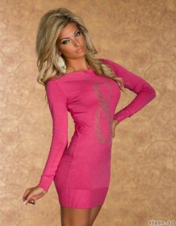 4790 Langarm-Minikleid aus feinem, weichem Strick dress robes 5 Farben (Pink 4790-3) - 3