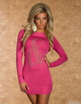 4790 Langarm-Minikleid aus feinem, weichem Strick dress robes 5 Farben (Pink 4790-3) - 1
