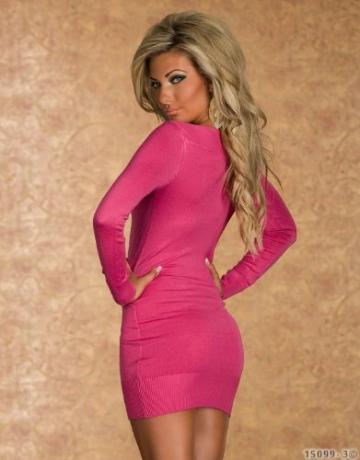 4790 Langarm-Minikleid aus feinem, weichem Strick dress robes 5 Farben (Pink 4790-3) - 4