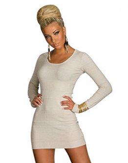 4843 Langarm-Minikleid aus feinem Strick dress 5 Farben 2 Größen (L/XL=38/40, Creme 4843-2) -