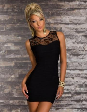 4850 Ärmelloses transparentes Minikleid dress verfügbar in 5 Farben (Schwarz 4850-1) - 2