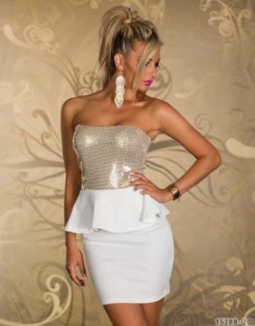 4870 Trägerloses Bandeau-Minikleid Party Kleid Abendkleid verfügbar in 2 Farben (Weiß Gold) - 2