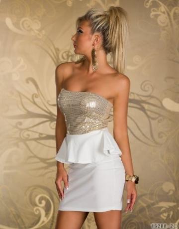 4870 Trägerloses Bandeau-Minikleid Party Kleid Abendkleid verfügbar in 2 Farben (Weiß Gold) - 3