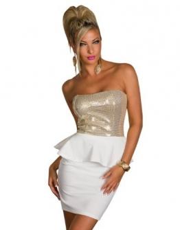 4870 Trägerloses Bandeau-Minikleid Party Kleid Abendkleid verfügbar in 2 Farben (Weiß Gold) - 1