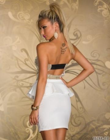 4870 Trägerloses Bandeau-Minikleid Party Kleid Abendkleid verfügbar in 2 Farben (Weiß Gold) - 4