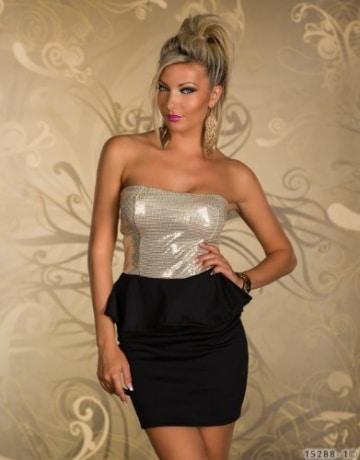 4870 Trägerloses Bandeau-Minikleid Party Kleid Abendkleid verfügbar in 2 Farben (Schwarz Gold) -