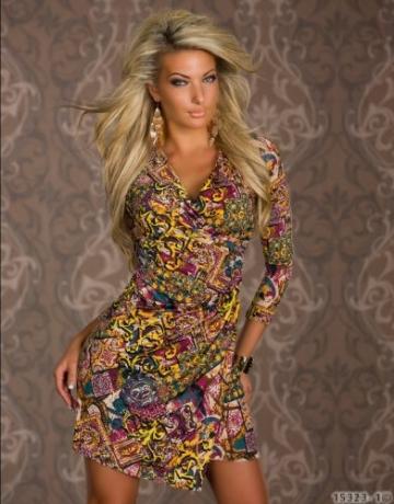 4898 Damen Tailliertes Minikleid in Wickeloptik Kleid verfügbar in 3 Größen 2 Farben (T1 = S = 36, Multicolor -1) - 2