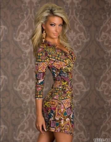 4898 Damen Tailliertes Minikleid in Wickeloptik Kleid verfügbar in 3 Größen 2 Farben (T1 = S = 36, Multicolor -1) - 3