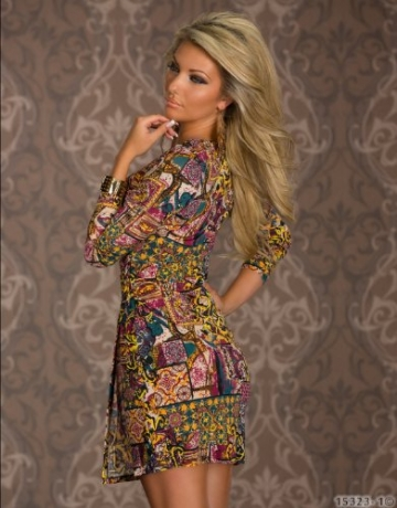 4898 Damen Tailliertes Minikleid in Wickeloptik Kleid verfügbar in 3 Größen 2 Farben (T1 = S = 36, Multicolor -1) - 4