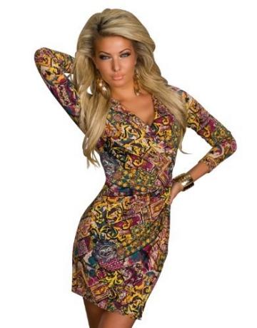 4898 Damen Tailliertes Minikleid in Wickeloptik Kleid verfügbar in 3 Größen 2 Farben (T1 = S = 36, Multicolor -1) - 1