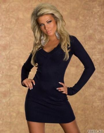 4968 Damen Langarm-Minikleid aus Strick Pullover dress Kleid verfügbar in 2 Größen und in 6 Farben (S/M 36 38, Dunkelblau) - 2