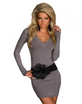 4968 Damen Langarm-Minikleid aus Strick Pullover dress Kleid verfügbar in 2 Größen und in 6 Farben (S/M 36 38, Grau) - 1