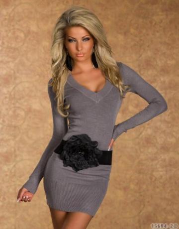 4968 Damen Langarm-Minikleid aus Strick Pullover dress Kleid verfügbar in 2 Größen und in 6 Farben (S/M 36 38, Grau) - 2