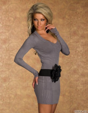 4968 Damen Langarm-Minikleid aus Strick Pullover dress Kleid verfügbar in 2 Größen und in 6 Farben (S/M 36 38, Grau) - 3