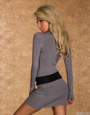 4968 Damen Langarm-Minikleid aus Strick Pullover dress Kleid verfügbar in 2 Größen und in 6 Farben (S/M 36 38, Grau) - 4