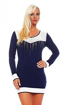5006 Fashion4Young Damen Strick Minikleid LongPullover Pullover Pulli Long Shirt Kleid in 7 Farben (36/38, Dunkelblau) - 1