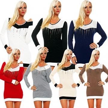 5006 Fashion4Young Damen Strick Minikleid LongPullover Pullover Pulli Long Shirt Kleid in 7 Farben (36/38, Dunkelblau) - 4