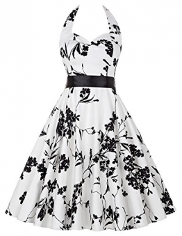 50er jahre rockabilly kleid blumenkleid damen neckholder kleid sommerkleid knielang partykleider L -