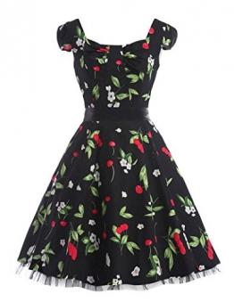 50er jahre rockabilly kleid damenkleider knielang schwingen pinup swing kleid petticoat kleid XL -