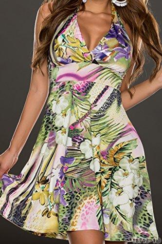 5193 Fashion4Young Damen Tailliertes Neckholder Minikleid Kleid dress verfügbar in 2 Farben Gr. 34/36 (34/36, Grün Multicolor) -