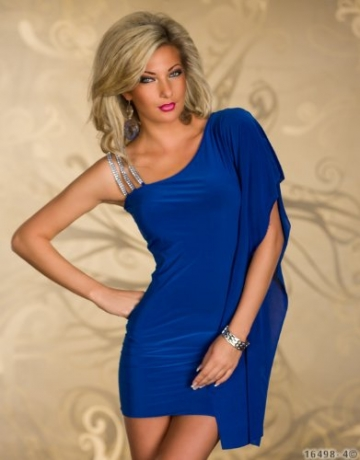 5249 Damen One-Shoulder-Minikleid robe dress Kleid Gr. 36 38 verfügbar in 3 Farben (Royalblau) -