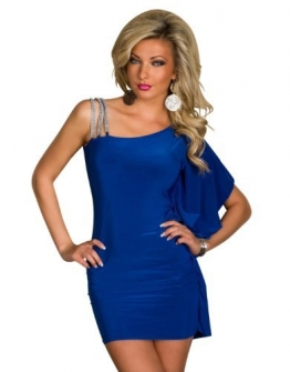 5249 Damen One-Shoulder-Minikleid robe dress Kleid Gr. 36 38 verfügbar in 3 Farben (Royalblau) -
