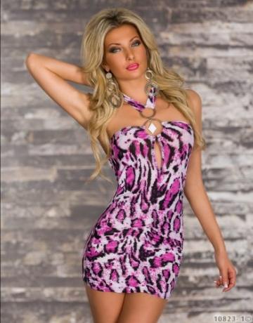5364 Damen Neckholder-Minikleid Top Kleid robes dress Gr. 34 36 Multicolor - 2
