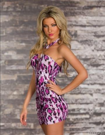 5364 Damen Neckholder-Minikleid Top Kleid robes dress Gr. 34 36 Multicolor - 3