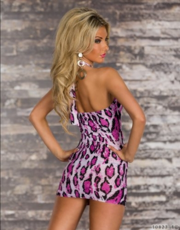 5364 Damen Neckholder-Minikleid Top Kleid robes dress Gr. 34 36 Multicolor - 4