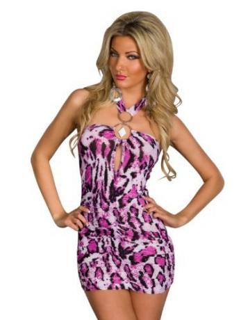 5364 Damen Neckholder-Minikleid Top Kleid robes dress Gr. 34 36 Multicolor - 1
