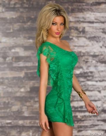 5391 Damen Spitzen-Minikleid in One-Shoulder-Form dress robes Gr. 34 36 Grün - 3