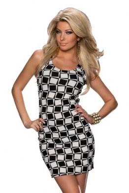 5800 Fashion4Young Damen ärmelloses Minikleid mit Rundhals-Ausschnitt dress in Weiß Schwarz - 1
