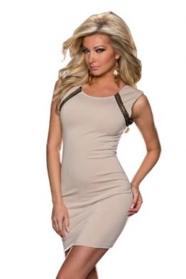 5848 Fashion4Young Damen ärmelloses Minikleid Kleid dress verfügbar in 2 Farben 3 Größen (L = 40, Creme) - 1