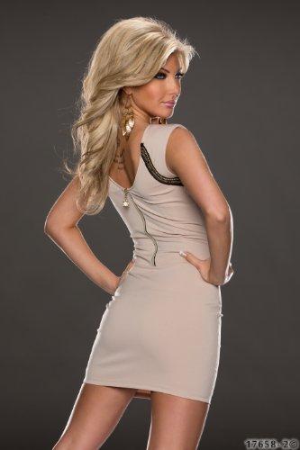 5848 Fashion4Young Damen ärmelloses Minikleid Kleid dress verfügbar in 2 Farben 3 Größen (L = 40, Creme) - 4