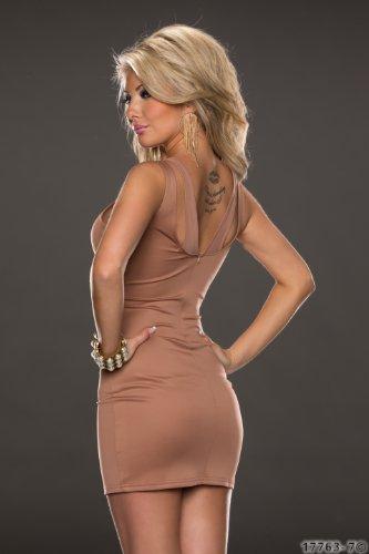 5881 Fashion4Young Damen ärmelloses Minikleid Stretch Kleid dress verfügbar in 7 Farben 2 Größen (S/M 36/38, Braun) - 3