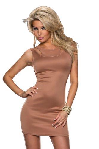 5881 Fashion4Young Damen ärmelloses Minikleid Stretch Kleid dress verfügbar in 7 Farben 2 Größen (S/M 36/38, Braun) - 1