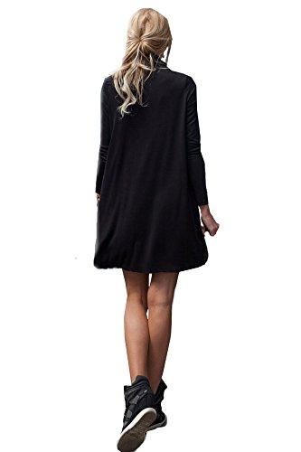 65-10 Japan Style von Mississhop Damen Longshirt Kleid Pulli Tunika Schwarz S -
