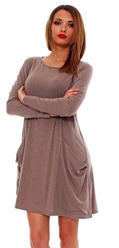 65-14 Tunika Longshirt Damen Minikleid Longshirt Kleid mit Taschen capuccino langarm 2XL - 2
