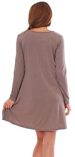 65-14 Tunika Longshirt Damen Minikleid Longshirt Kleid mit Taschen capuccino langarm 2XL - 3