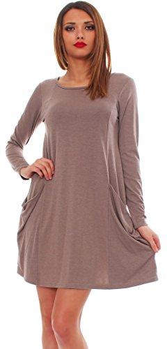 65-14 Tunika Longshirt Damen Minikleid Longshirt Kleid mit Taschen capuccino langarm 2XL - 1