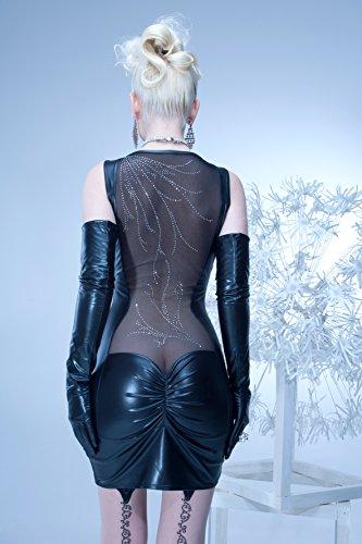 704010 Kunstleder Kleid Stretchminikleid Kleid Damen Minkleid Wetlook MAIWENN Patrice Catanzaro 704010, Farbe:Schwarz;Größe:L - 2