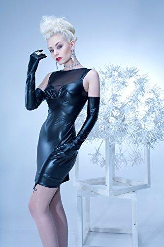 704010 Kunstleder Kleid Stretchminikleid Kleid Damen Minkleid Wetlook MAIWENN Patrice Catanzaro 704010, Farbe:Schwarz;Größe:L - 3
