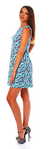90-01 Mississhop Damen Sommer Kleid Minikleid Top Tunika Shirt Rundhals Hellblau mit Muster L - 2