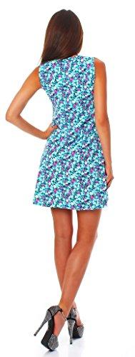 90-01 Mississhop Damen Sommer Kleid Minikleid Top Tunika Shirt Rundhals Hellblau mit Muster L - 3
